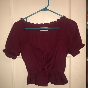 Urban Outfitters Burgundy Silky Blouse XS
